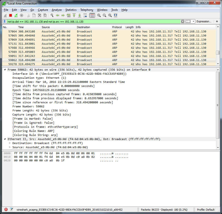 Exclude your own traffic from Wireshark – Gary Sieling